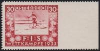 ANK Nr. 553 Ur, Michel Nr. 553 Ur, FIS Wettkämpfe Innsbruck 1933 - 30 Groschen RECHTS UNGEZÄHNT !!!, ungebraucht, ATTEST Soecknick