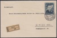 ANK Nr. 588, Michel Nr. 588, 10 S Dollfuß auf REKO-Brief von Linz nach Wien, entwertet mit dem Sonderstempel ÖSTERREICHISCHER VOLKSTRAUERTAG LINZ 1 25.VII.36 = ERSTTAG, Absender: DER GENERALDIREKTOR DER POST- UND TELEGRAPHENVERWALTUNG; DB D893