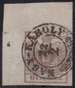 Nr. 4 H III, 6 Kreuzer Handpapier Type III, linke obere Bogenecke mit 9 : 11 ½ mm mit großem Wasserzeichen-Teil, schwarzer Zierstempel NAGY KÁROLY, ATTEST Dr. Ferchenbauer als