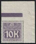 Porto Nr. 46, Weiße Wertziffer auf violettem Grund, Wert zu 10 Kronen aus der rechten oberen Bogenecke MIT RANDLEISTE (BALKEN), postfrisch, ATTEST Soecknick