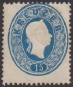 Österreich 1861, ANK Nr. 22 b, Michel Nr. 22 b, Ferchenbauer Nr. 22 c, Kaiserkopf im Oval, 15 Kreuzer dunkelblau ungebraucht BEFUND Dr. Ferchenbauer als
