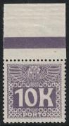 Porto Nr. 46, Weiße Wertziffer auf violettem Grund, Wert zu 10 Kronen vom oberen Bogenrand MIT RANDLEISTE (BALKEN), postfrisch, ATTEST Soecknick