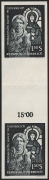 Österreich, 1964, ANK Nr. 1181 ZS U, MICHEL Nr. 1151 ZS U, Romanische Kunst in Österreich - SENKRECHTES ZWISCHENSTEGPAAR - UNGEZÄHNT - postfrisch, ATTEST Soecknick