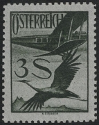 Österreich, 1926, ANK Nr. 485 P, Michel Nr. 485 P, Flugpostausgabe 1925 - 3 S als Probedruck bzw. Farbprobe in Schwarzoliv, ohne Gummierung wie hergestellt, ATTEST Soecknick