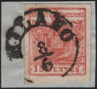 Lombardei-Venetien, Freimarken-Ausgabe 1850/54, MAILÄNDER POSTFÄLSCHUNG - 15 Centesimi zinnoberrot, Type I auf Briefstück, entwertet mit