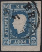 Österreich, 1858, Zeitungsmarken-Ausgabe 1858, Ferchenbauer Nr. 16, 1,05 Kreuzer blau, Type II anstatt Type I entwertet mit