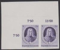 Österreich, 1963, ANK Nr. 1164 U, MICHEL Nr. 1134 U, Prinz Eugen ungezähnt im waagrechten Paar aus der linken oberen riesigen Bogenecke postfrisch ATTEST Soecknick