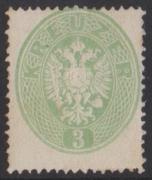 ANK Nr. 25b, Michel Nr. 25a, Ferchenbauer Nr. 25b, Freimarkenausgabe 1863, 3 Kreuzer Adlerausgabe eng gezähnt in der Farbe gelblichgrün, ungebraucht, ATTEST Goller als