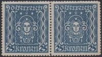 ANK Nr. 399 I, Michel Nr. 399 A PF I, Freimarkenausgabe: Frauenkopf 25 Kronen im waagrechten Paar mit dem seltenen Plattenfehler Diadem (Nachgravur) auf der rechten Marke, postfrisch, KURZBEFUND Soecknick
