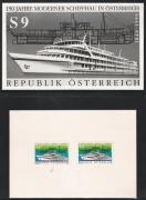 Österreich; 1990, ANK Nr. 2031, MICHEL Nr. 1999, 150 Jahre moderner Schiffbau in Österreich - FOTOPROBE und VORLAGEKARTON mit ähnlicher und verausgabter Farbe, Vorlagekarton mit ATTEST Soecknick