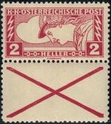 Österreich, 1917, ANK Nr. 219 D Kr, MICHEL Nr. 219 D Kr, Eilmarke 2 Heller mit anhängendem Andreaskreuz in Linienzähnung Lz. 12 ½ : 11  ½, postfrisch, ATTEST Soecknick