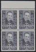 Österreich, 1934, ANK Nr. 590 UMs, MICHEL Nr. 590 UMs, 24 Groschen Dollfuß im 4er-Block vom oberen Bogenrand MIT ZWEI PAAREN WAAGRECHTES PAAR MITTE UNGEZÄHNT, postfrisch, ATTEST Soecknick