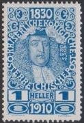 161 P, Jubiläumsausgabe 1910, 1 Heller Probedruck in Kobalt, postfrisch !!!, BEFUND Soecknick