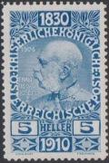 164 P, Jubiläumsausgabe 1910, 5 Heller Probedruck in Blau, postfrisch !!!, BEFUND Soecknick