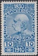 166 P, Jubiläumsausgabe 1910, 10 Heller Probedruck in Blau, postfrisch !!!, BEFUND Soecknick
