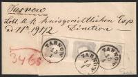 Österreich, 1861, Zeitungsmarken-Ausgabe 1861, Nr. 23 c, 1.05 Kreuzer grauviolett im senkrechten 3er-Streifen mit Randleisten-Ansatz (Breiter Strich) oben rechts auf kompletter Schleife nach TARNOW, ATTEST Dr. Ferchenbauer