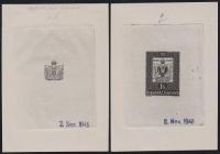 ANK Nr. 962, Michel Nr. 950, 100 JAHRE ÖSTERREICHISCHE BRIEFMARKE, Phasendrucke 1. Phase - 2. Phase ( ENDPHASE ) in schwarz, gummiert, ATTEST Dr. Glavanovitz
