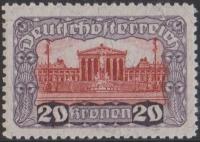 ANK Nr. 291B, Michel Nr. 291B, Freimarkenausgabe: Parlamentsgebäude, Wert zu 20 Kronen in der seltenen Linienzähnung Lz. 11 ½, postfrisch, BEFUND Soecknick