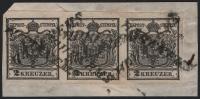 Österreich, 1850, Ferchenbauer Nr. 2 H I a, 2 Kreuzer, schwarz, Handpapier, Type I a, im waagrechten 3er-Streifen auf Briefstück, entwertet mit