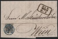 Österreich, 1850/54, Ferchenbauer Nr. 2 M III b, 2 Kreuzer, tiefschwarz, Type III b, kompletter Orts-Faltbrief entwertet mit BLAUEM