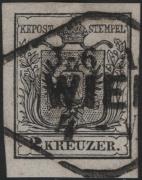 Österreich, 1850/54, Ferchenbauer Nr. 2 M III b, 2 Kreuzer, tiefschwarz, Maschinenpapier, Type III b, Feinstdruck, entwertet mit Rhombenstempel