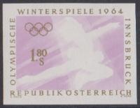ANK Nr. 1169 FU, Michel Nr. 1139 FU, Olympische Winterspiele Innsbruck, 1.80 S Eiskunstläuferin ungezähnt mit fehlender Farbe schwarz, postfrisch, ATTEST Dr. Glavanovitz