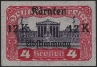 Österreich 1920, ANK Nr. 335 PU, MICHEL Nr. 335 PU, Kärntner Abstimmungsausgabe 4 Kronen MIT PROBEAUFDRUCK 12 Kronen, ungebraucht ohne Gummierung wie hergestellt, ATTEST Soecknick
