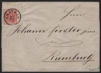 Österreich, 1850, Ferchenbauer Nr. 3 H III a, 3 Kreuzer, dunkelkarminrot, Handpapier, Type III a; rechtes oberes Eckrandstück 10,5 mm : 7-9 mm auf kompletter Faltbrief-Hülle entwertet mit