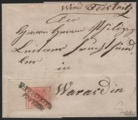 Österreich, 1850/54, Ferchenbauer Nr. 3 M III a, 3 Kreuzer, (karmin)rot, Maschinenpapier, Type III a; rechtes oberes Eckrandstück 7 mm : 14,5 mm auf kompl. Faltbrief-Hülle entwertet
