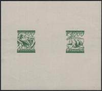 Österreich, 1925, ANK + MICHEL Nr. 455 P + 459 P ZD 500 Kronen und 4000 Kronen Freimarken Probedrucke zusammen auf Kleinbogen in Schwärzlichgelblichgrün, ATTEST Soecknick