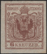 Österreich, 1850, Ferchenbauer Nr. 4 H I c, 6 Kreuzer rostbraun Handpapier Type I c POSTFRISCH !! - breit- bis überrandig und farbintensiv ! - ATTEST Dr. Ferchenbauer
