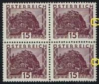 Österreich, 1929, ANK Nr. 500, MICHEL Nr. 500 vL, Landschaftsbilder großes Format, 15 Groschen mit schräg versetztem Zahnlochpaar, postfrisch