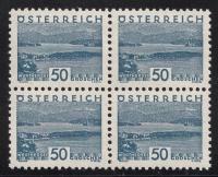 541, 50 Groschen Blau, Landschaftsbilder ( kleine Landschaft ) im 4er-Block, postfrisch