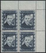Österreich, 1936, ANK Nr. 588, MICHEL Nr. 588, 10 S Dollfuß im 4er-Block aus der rechten oberen Bogenecke, postfrisch, ATTEST Soecknick