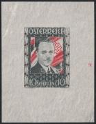 Österreich, 1934, ANK Nr. 588 PU IV, MICHEL Nr. 588 PU IV, 10 S Dollfuß als UNGEZÄHNTER Einzelabzug in Schwärzlichgrautürkis mit karminroter Fahne und Lorbeer, ohne Gummierung wie hergestellt, ATTEST Soecknick