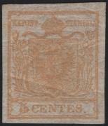 Österreich Lombardei-Venetien, Freimarken-Ausgabe 1850, 5 Centesimi gelbocker, postfrisch, ATTEST Dr. Ferchenbauer