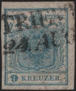 Österreich, 1850, Ferchenbauer Nr. 5 H I P 27, 9 Kreuzer, hellblau, Handpapier, Type I / P 27 = weitester Abstand von 1,2 mm zwischen der Ziffer