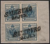 Österreich, 1850/54, Ferchenbauer Nr. 5 M III b, 9 Kreuzer, dunkelblau, Maschinenpapier, Type III b im 4er-Block auf Briefstück entwertet mit