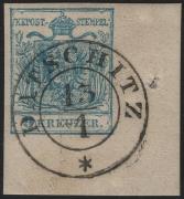 Österreich, 1850/54, Ferchenbauer Nr. 5 M III b, 9 Kreuzer, hellblau, Maschinenpapier, Type III b, rechte untere BOGENECKE mit 11,5 : 10 mm + NADELPUNKT RECHTS ! entwertet mit