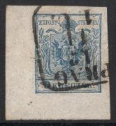 Nr. 5 H IIIb, 9 Kreuzer Handpapier Type IIIb, linke untere Bogenecke mit 8 : 5 mm, BEFUND Dr. Ferchenbauer als breitrandies attraktives P(rachtstück), DB JUV854