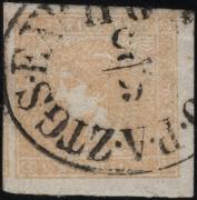 Österreich, Zeitungsmarkenausgabe 1851, Ferchenbauer Nr. 7, 0,6 Kreuzer gelb, Type I b -