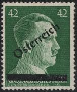 Österreich, 1945, ANK Nr. 8 f, MICHEL Nr. F IV, 1. Wiener Aushilfsausgabe, 42 Pfennig MIT SCHWARZEM PROBEAUFDRUCK, postfrisch, ATTEST Soecknick