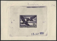 Österreich, 1950, ANK Nr. 967, MICHEL Nr. 955 PH, Flugpostausgabe: Heimische Vogelwelt - Vögel - 60 Groschen als Phasendruck 5. Phase ( Endphase ) in blau auf gummiertem Papier mit Datum vom 15. Juli 1950 - ATTEST Soecknick