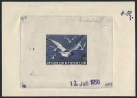 Österreich, 1950, ANK Nr. 969, MICHEL Nr. 956 PH, Flugpostausgabe: Heimische Vogelwelt - Vögel - 2 Schilling als Phasendruck 4. Phase ( Endphase ) in blau auf gummiertem Papier mit Datum vom 12. Juli 1950 - ATTEST Soecknick