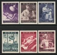 Österreich, 1954, ANK Nr. 1008 U - 1013 U, MICHEL Nr. 999 U - 1004 U, Gesundheitsfürsorge, UNGEZÄHNT, postfrisch, ATTEST Soecknick