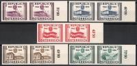 Österreich, 1955, ANK Nr. 1021 U - 1025 U, MICHEL Nr. 1012 U - 1016 U, 10 Jahre Wiederherstellung der Unabhängigkeit der Republik Österreich UNGEZÄHNT in waagrechten Paaren vom rechten Bogenrand, postfrisch, ATTEST Dr. Glavanovitz