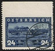 Österreich, 1937, ANK Nr. 640 Uo, Michel Nr. 640 Uo, 100 Jahre Erstfahrt des DDSG-Dampfers Maria Anna - 24 Groschen OBEN UNGEZÄHNT zeitgerecht entwertet mit dem Stempel SALZBURG 2 *3d* 30.VI.37-16, ATTEST Soecknick