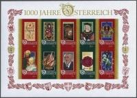 Österreich, 1996, ANK Nr. Block 14 U, MICHEL Nr. 12 U, Blockausgabe 1996: 1000 Jahre Österreich - UNGEZÄHNT !! - postfrisch, ATTEST Turin