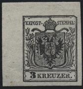 Österreich, 1850/54, 3 Kreuzer schwarz, Type I b, Probedruck in schwarz in endgültiger Zeichnung, ungebraucht, linkes oberes Eckrandstück 4,2 : 6,8 mm mit PLATTENFEHLER