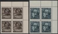 Österreich, 1946, ANK Nr. (13) + (14), MICHEL Nr. VI + VII, Nicht verausgabte Serie Blitz Totenmaske bzw. Blitz Totenkopf im 4er-Block einheitlich aus der rechten oberen Bogenecke, postfrisch, ATTEST Soecknick